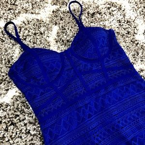 Cage Bodycon Dress in Royal Blue from Privy